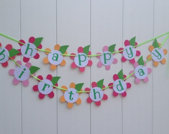 Happy Birthday Banner Party Banner All's a Bloom Girl's Banner Flower Banner