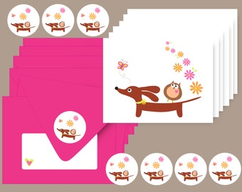 Dachshund Dog Cards - Set of 6 with Envelopes and Stickers - Doxie and Owl Daisy Delight Stationery
