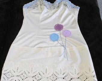 Upcycled slip dress tunic vintage Wards vtg lace doily balloons eco girly