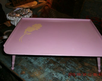 Vintage Shabby Cottage 1950's Pink Wooden Breakfast Tray Table Rustic Farmhouse Decor