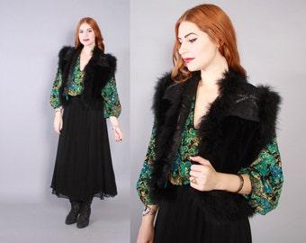 Vintage 70s VEST / 1970s Black Velvet Beaded FEATHER Trim Gypsy Waistcoat