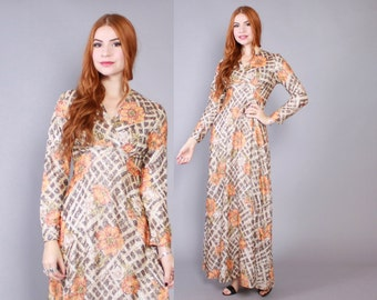 70s METALLIC Boho DRESS / 1970s Gold Floral Shiny Lurex Maxi Gown S