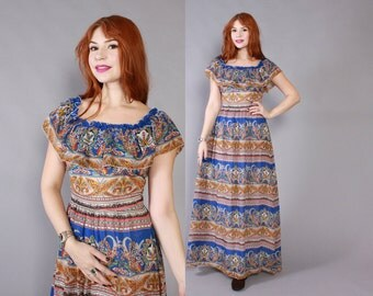 Vintage 70s DRESS / 1970s Blue Chiffon Ethnic Paisley Ruffle Maxi Dress