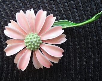 Vintage Enamel Metal Pink and Green Flower Brooch
