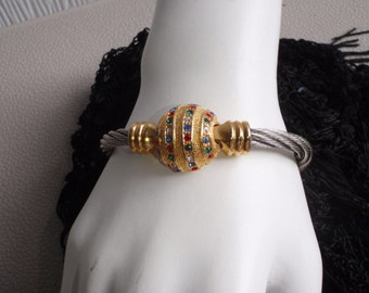 Vintage Rhinestome Beaded Bangle Bracelet  - In Gold and Silver Tone For Young Women