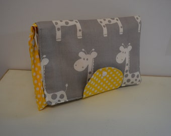 Giraffe Nappy Wallet with Yellow Dots New Design Fits All Nappy Wipes