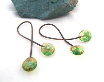 Numi-baubles  Flattened Antifreeze Yellow Green with Turquoise Spots Lampwork Baubles Double Ended Copper Wire Headpins Twist  -  Set of 2