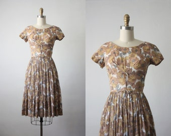 50s dress /  foliage blooms dress