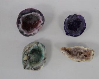 Set of 4 Minature Geodes Crystal Magnets / Fridge Magnets / Hostess Gift