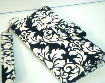 iphone Card Wallet - Cell Phone Case for iphone 4s, iphone 5, and 6 and 6 plus with Detachable Handle - Black and White Damask