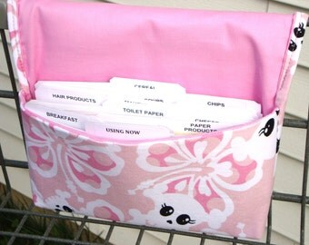 40% Off Fabric Coupon Organizer / Budget Organizer Holder - Attaches to Your Shopping Cart -  Pink and White Sugar Skulls