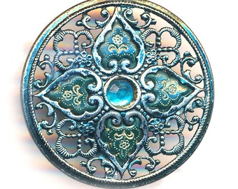 Button--Large Vintage Open Gunmetal Filigree with Water Blue Jewel & Celluloid