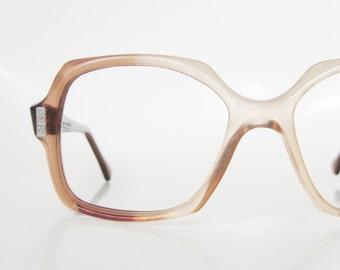 Vintage 1970s Boxy Eyeglasses Apricot Pink Peach Seventies Oversized Indie Hipster Chic 70s Seventies Mid Century Modern American Optical