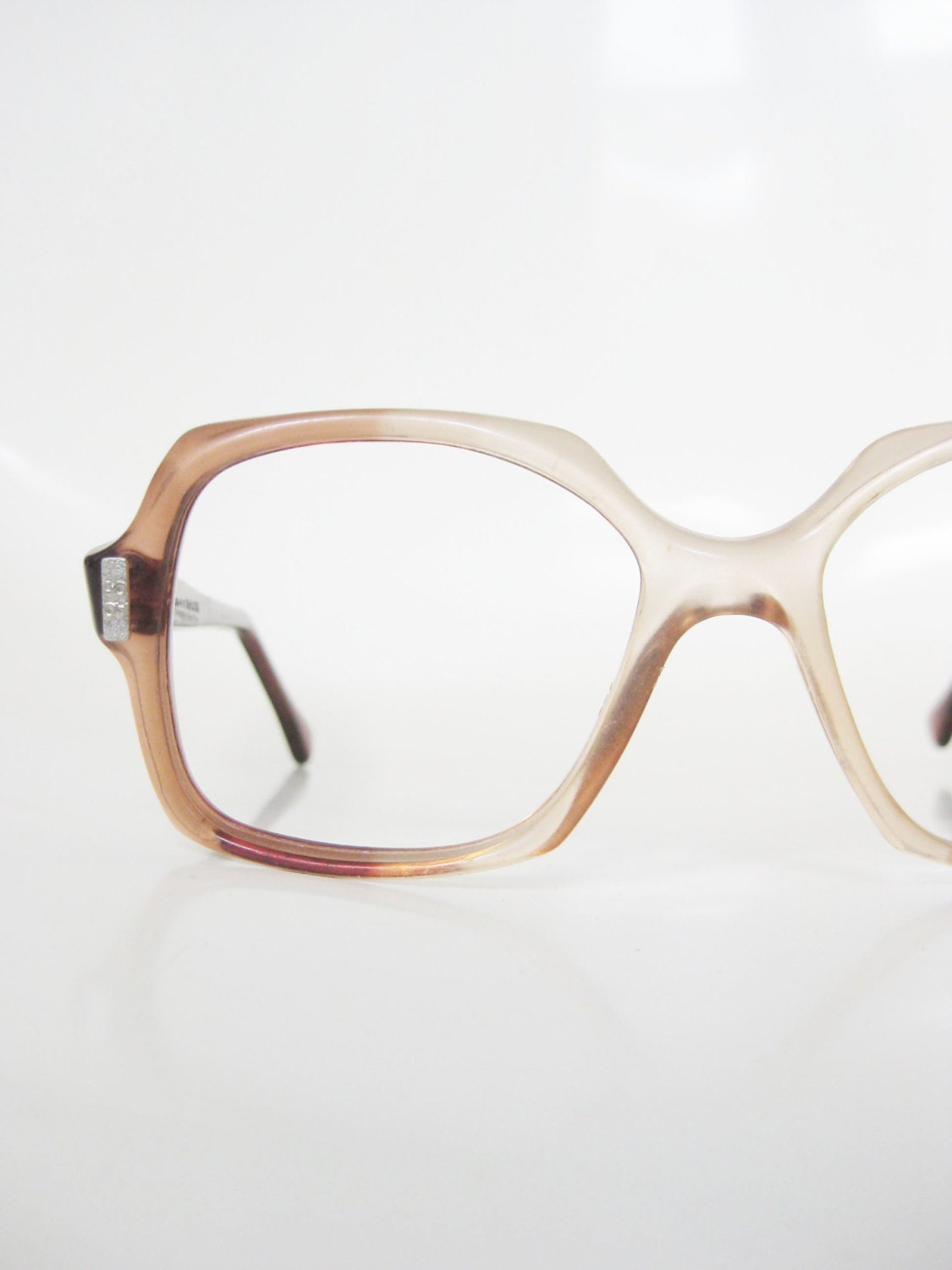 3d0e992136 Vintage 1970s Boxy Eyeglasses Apricot Pink Peach Seventies Oversized Indie  Hipster Chic 70s Seventies Mid Century