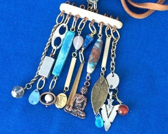 Wonderful Hand Made Boho Necklace with 8 Long Dangle Charms Bohemian Tribal Jewelry with Love, Feather, Buddha, Arrowhead Pieces