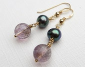 Amethyst and Pearls Gold Earrings