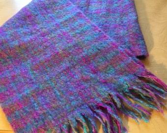 Vintage Winter Scarf Womens Plaid Wool Acrylic Woven Fuchsia Blue Green Purple Taiwan East Hollow Road