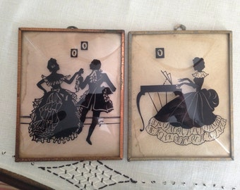 Vintage SILHOUETTE Convex Glass Dancing Couple and Woman at Piano Victorian Framed Picture Set 4x5