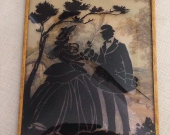 Vintage SILHOUETTE Convex Glass Framed Picture Courting Victorian Couple Tree Background 1940s Reverse Romantic