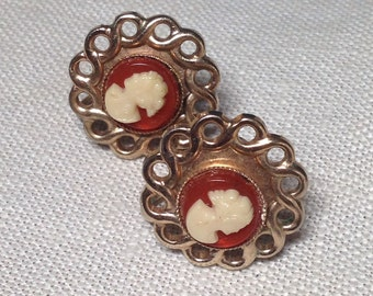 Vintage CAMEO Earrings on Gold Tone Metal, Clip Style