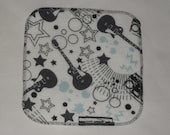 6 Guitar printed flannel wipes