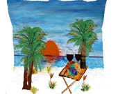 Sunset beach wine art throw pillow double sided with insert.