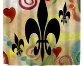 Black fleur de lis and hearts Art Shower Curtain