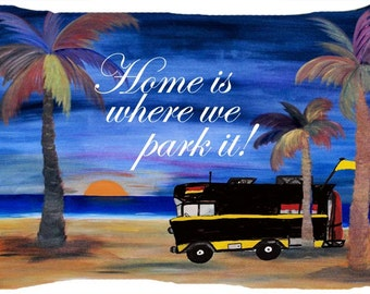 RV camper beach sunset  dog or cat bed from my art