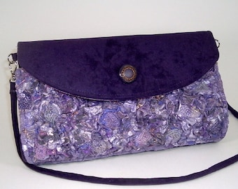 Unique Handmade Fabric Clutch/Shoulder Purse Purple Orchid