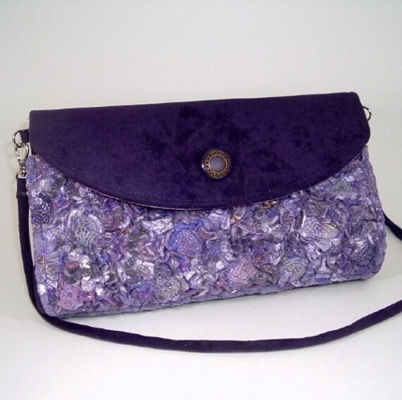 Unique Handmade Fabric Clutch/Shoulder Purse Purple Orchid