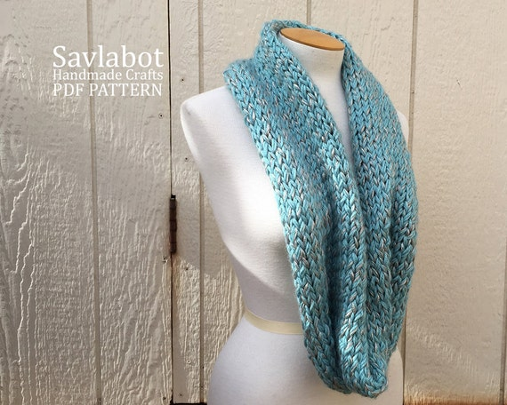 Knitting Pattern Infinity Scarf Straight Needles : knit pattern PDF infinity scarf- knit cowl pattern - knit scarf pattern - inf...