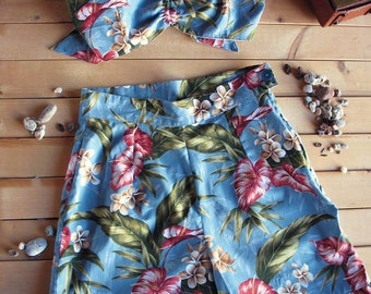 Swell Dame 1950s reproduction playsuit with hawaiian tropical print fabric Many fabric choices!!!