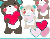 A bear with love cliparts - COMMERCIAL USE OK