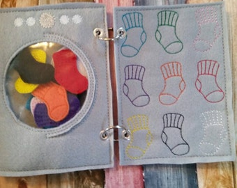 Quiet book page - Washing Machine - Color Sock Match - laundry - color sorting - counting game - educational - learning toy - pretend play