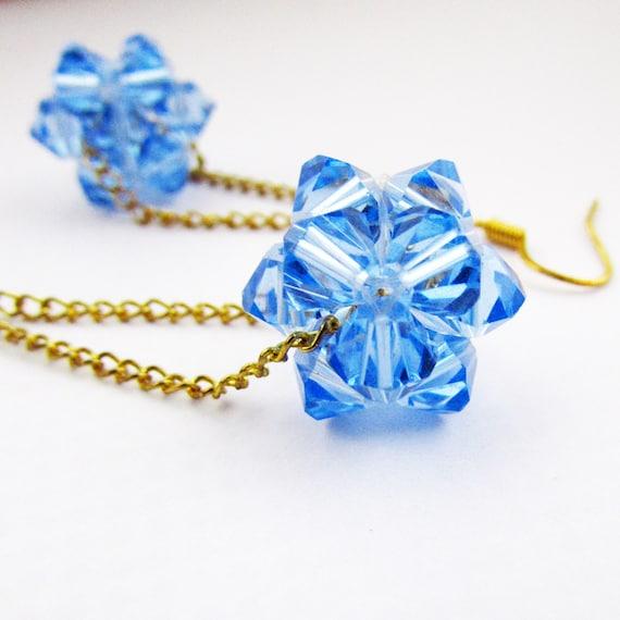 Blue Crystal Bead Ball Earrings, Bead Ball Earrings, Blue Crystal Earrings, Crystal Earrings, Blue Beaded Earring, Bead Ball, Beaded Ball
