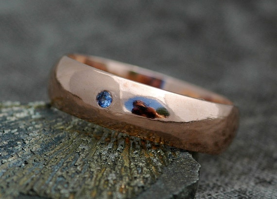 Thick 14k Gold Wedding Band With Flush Set Yogo Sapphire- Custom Made Recycled Gold Wide Ring