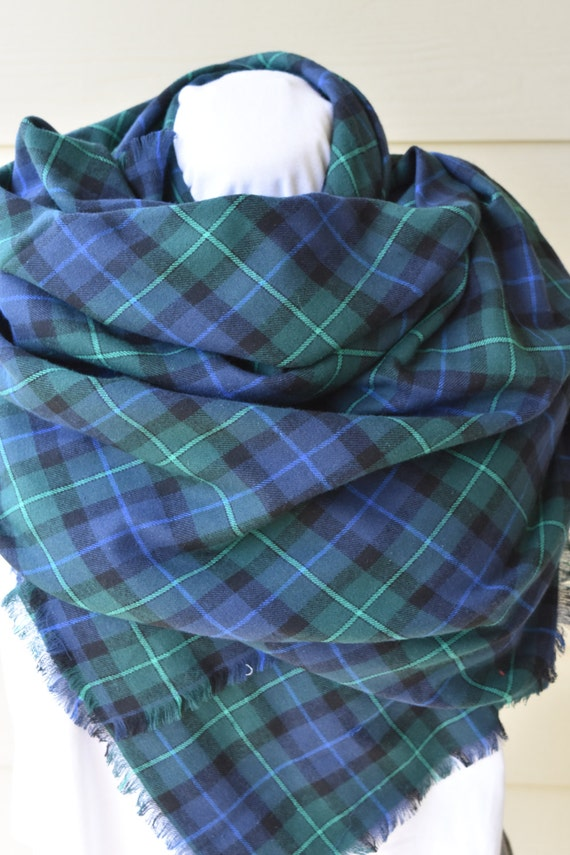 Blanket Scarf Navy Blue And Green Plaid Flannel