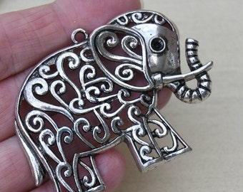 Large Antique Silver Filigree Elephant Pendant, Large Pendant for Scarves or Necklaces, Focal Pendant