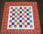 PRIMARY MODERN SQUARE Quilt Top 37 X 37 - Baby Quilt Top - Handmade - Nellie J Designs