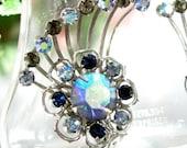 Vintage BLUE AURORA BOREALIS Rhinestone Earrings Silver Tone Ear Climbers Clip