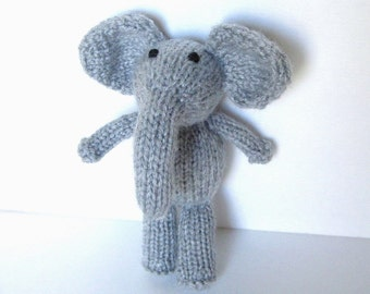 Hand Knit Little Stuffed Elephant Toy, Ready To Ship, Small Knit Toy, Toddler Gift, Newborn Photo Prop, Baby Gift, Plush Jungle Animal 7""
