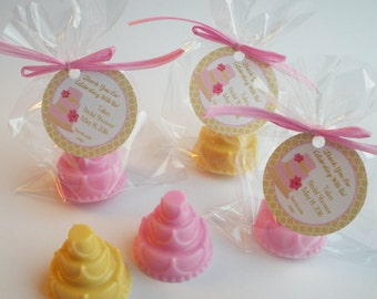 Wedding Cake Birthday Cake Anniversary Party Bridal Luncheon Bridal Tea Couples Shower Favors Handmade Soap (20 complete favors with tags)