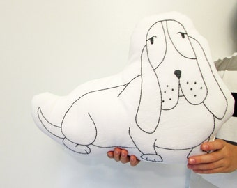 BIG - Basset Hound dog shaped pillow, hand embroidered, Made to order
