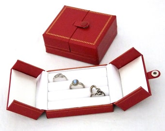 Red With Gold Trim 3 Row Ring, Earring, Cufflink Storage Box    SALE