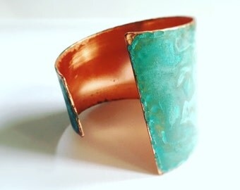 Asymetrical Verdgris Copper Cuff