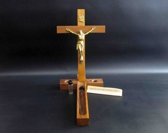 Vintage Last Rites Crucifix Set in Brass and Wood