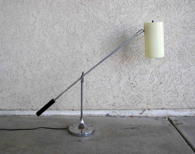 Featured listing image: Vintage Mid Century Modern Desk Lamp. Adjustable with Opaque Cylinder Shade. Circa 1950's - 1960's.