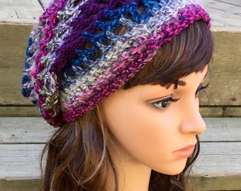 Vibrant Hues Varigated Lightweight Crochet Slouchy Hat
