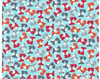 Urban Zoologie Mini Foxes Sky blue Robert Kaufman Fabric