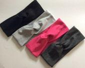Twist Turban Soft Cotton Jersey Headwrap Headband - Infant Toddler Child Girl Adult - Solid Colours Heathered Light Dark Grey Black Fuchsia
